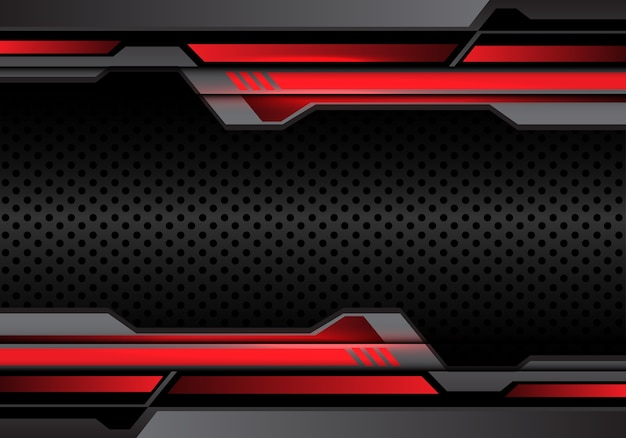 Red light dark gray futuristic on circle mesh illustration.