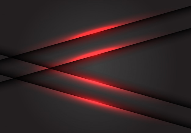Red light line arrow on dark grey blank space background.