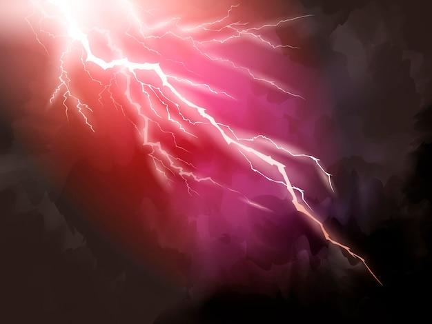 赤い稲妻の背景、自然現象3dイラスト