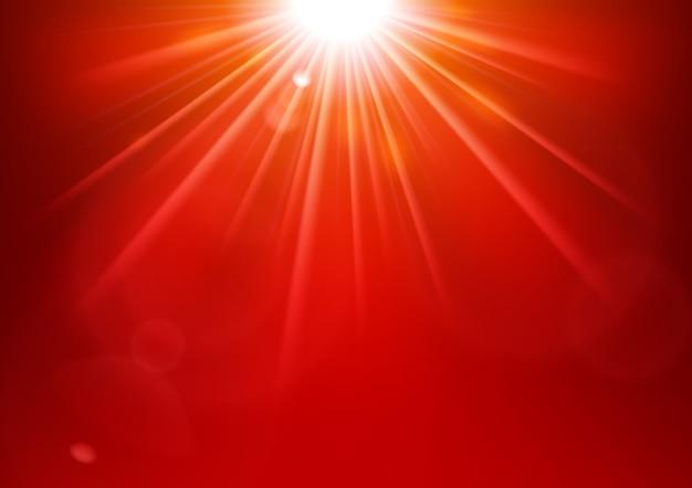 렌즈 플레어로 빛나는 빨간불
