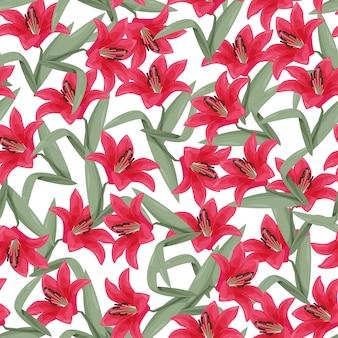 Красная лилия бесшовные модели.