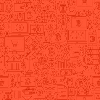 レッドラインビットコインシームレスパターン。アウトラインタイルの背景のベクトルイラスト。暗号通貨の財務項目。