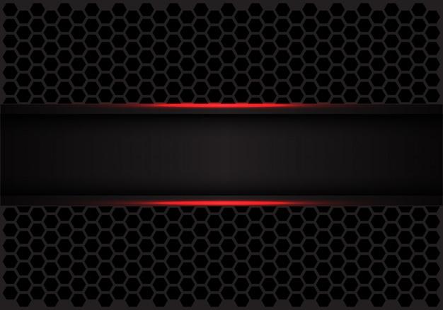 Red line black banner on hexagon mesh pattern background.