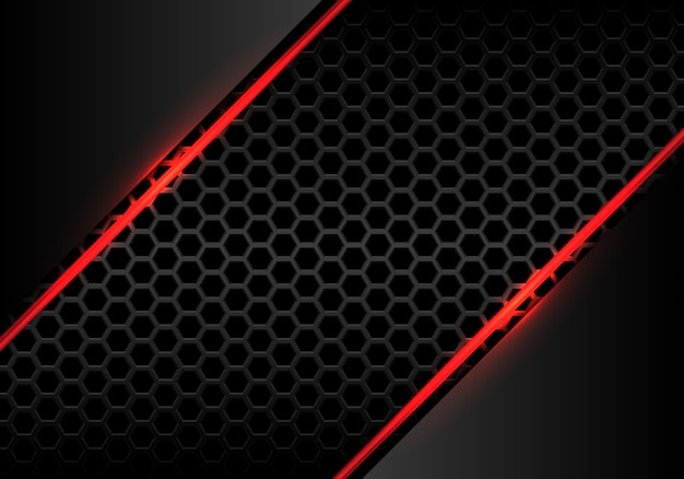 Red line fire light with grey metallichexagon mesh background.