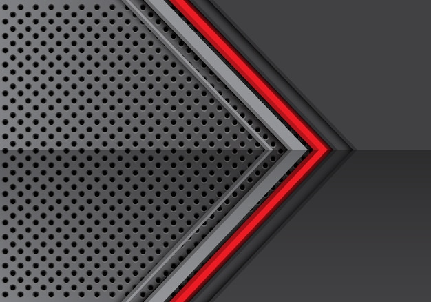Red line grey metal arrow on circle mesh pattern background.