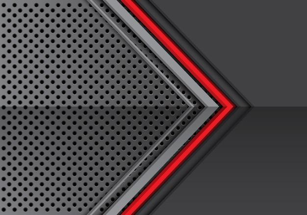 円形のメッシュパターンの背景に赤い線の灰色の金属の矢印。