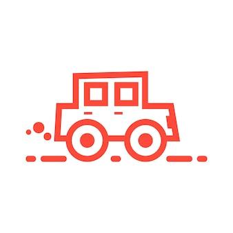 Значок красный линейный автомобиль. концепция загрязнения co2, отгрузка автомобилей, гонки, автосервис, значок мультяшного автомобиля, перевозки. изолированные на белом фоне. плоский стиль тренд современный автомобиль логотип дизайн векторные иллюстрации