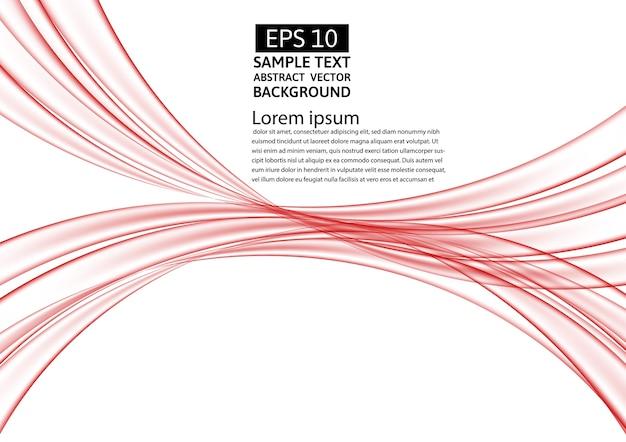 赤い線は、透明な抽象的なベクトルの背景波