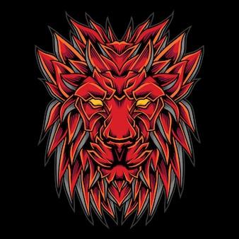 Иллюстрация логотипа головы красного льва