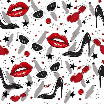 Red lips black heels pattern