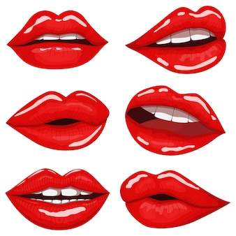 Red lips cartoon set isolated on white