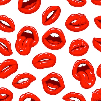 Red lips, a collection of different shapes, texture background. vector illustration