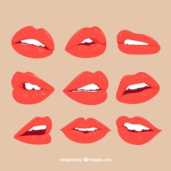 평면 디자인으로 붉은 입술 컬렉션