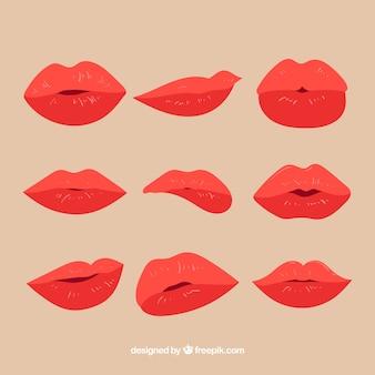 フラットデザインの赤い唇のコレクション