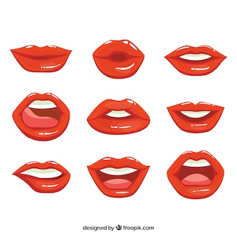 Коллекция красных губ с плоским дизайном