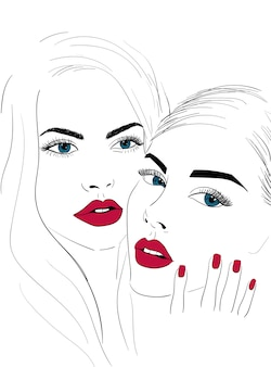 Red lips faces with nails