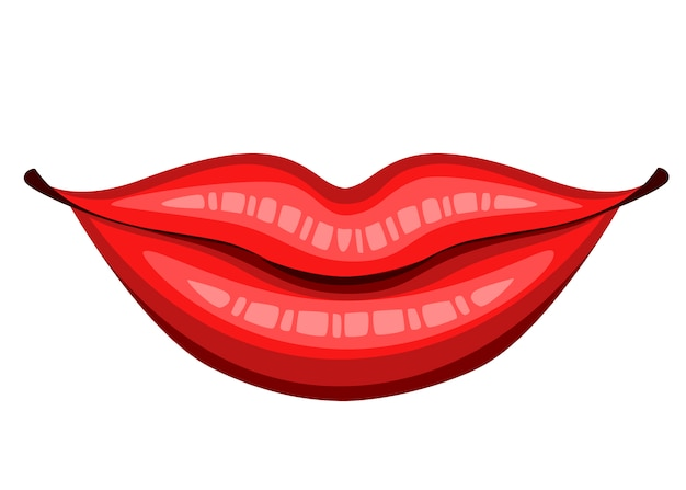 Red lips kiss. female smile lips. flat style mouth. kiss sexy logo icon for card. illustration isolated on white background.