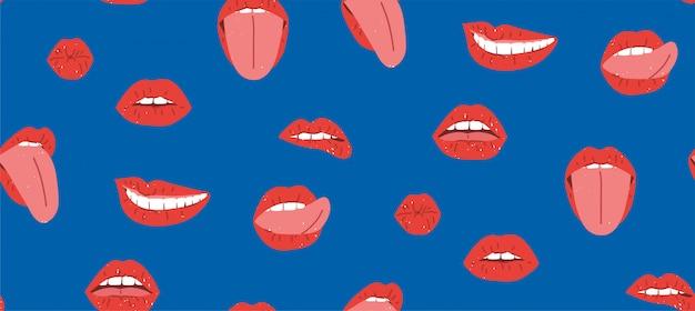 赤い唇のシームレスなパターン、素晴らしいデザイン。女性の口、歯、舌、キス、笑顔、イラスト。