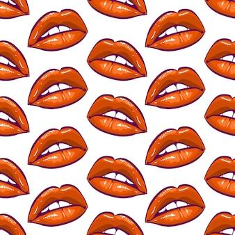 赤い唇のシームレスなパターン