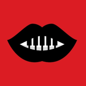 Red lips with piano music combinations logo