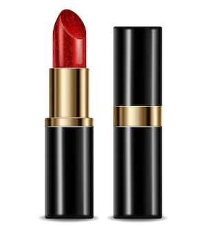 Red lipstick isolated package