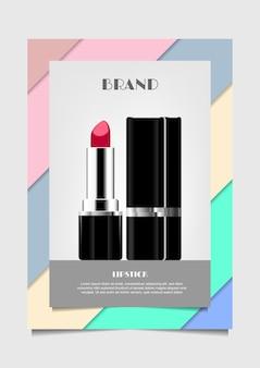 パステルカラーの背景に赤い口紅ベクトル化粧品広告
