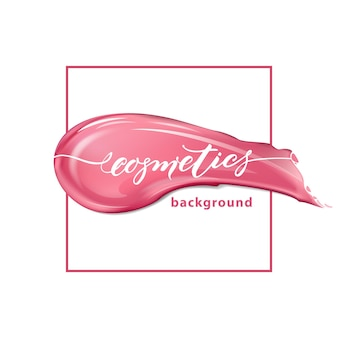Red lipstick and smears lipstick on white background beauty and cosmetics background vector