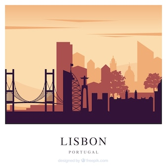 Red lisbon skyline background