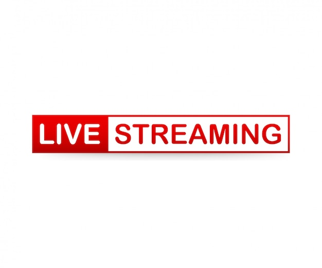Red live streaming icon on white background.