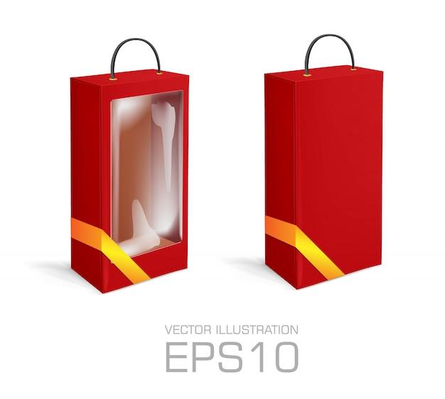 穴、ゴールデンリボン、白い背景で隔離の透明なプラスチックの窓と赤い長い段ボール箱。製品パッケージテンプレート。図