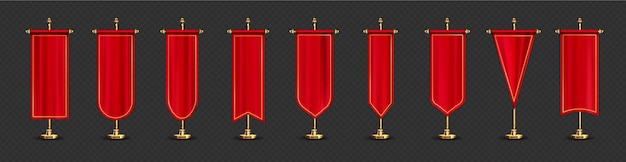 Red long flags in different shapes on gold stand.