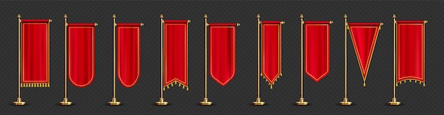 Red long pennant flags with golden tassel fringe isolated on transparent