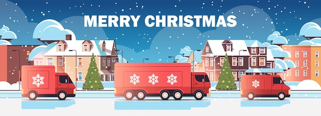 Red lorry trucks delivering gifts merry christmas happy new year winter holidays celebration express delivery service concept cityscape background horizontal vector illustration