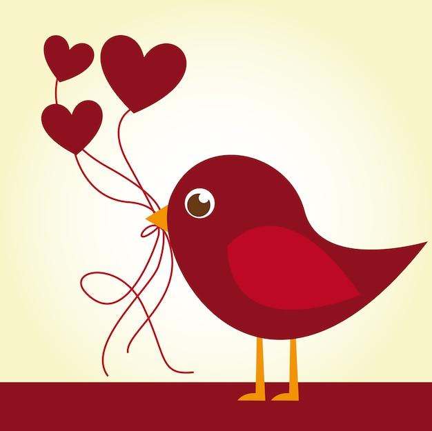 赤い鳥、心臓の風船で