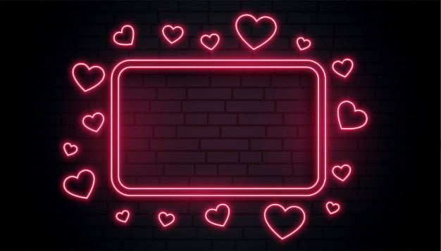 Red love hearts neon frame box with text space