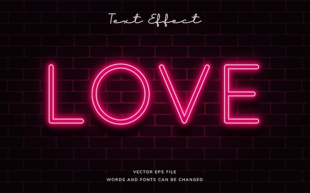 Red love neon text effect