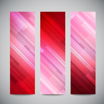 Red low poly  vertical banners set with polygonal abstract lines. abstract  polygonal bright background.
