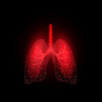 Красные легкие. концепция всемирного дня астмы. шаблон баннера со светящейся низкой поли. футуристический современный абстрактный. изолированные на темном фоне. векторная иллюстрация.