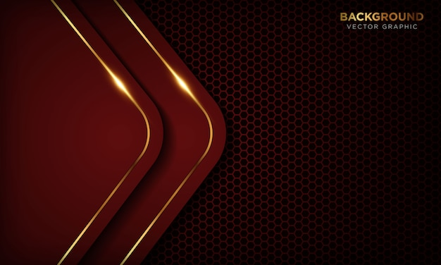 Red luxury background with overlap layers. texture with golden line and shiny golden light effect.