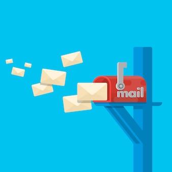 赤いメールボックスのポスト。背景から隔離されたカバー上の封筒を持つメールボックスを開きます。