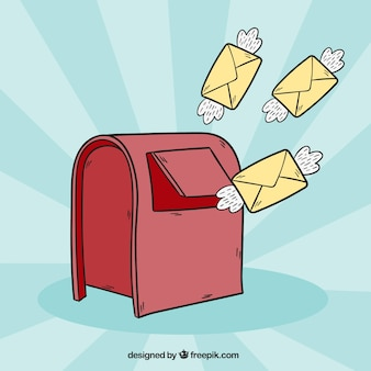 Red mailbox background and envelopes with hand drawn wings