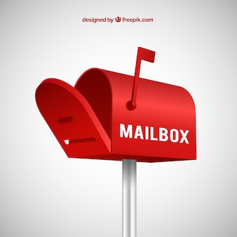 Red mailbox background in realistic style