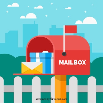 Red mailbox background with envelope and gift