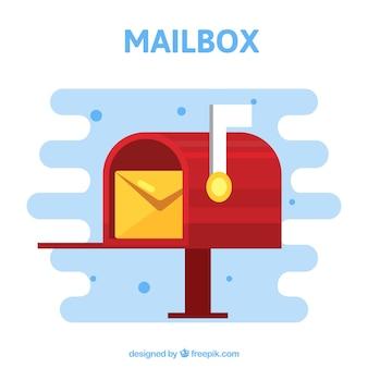 Красный фон почтовый ящик с конверта