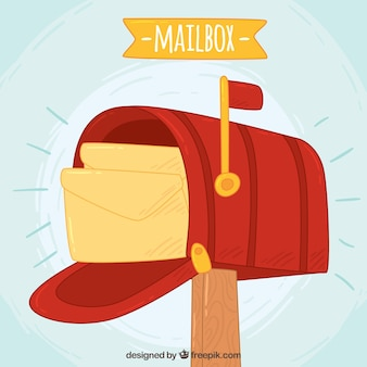 Red mailbox background with hand drawn envelopes