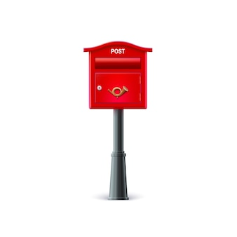 Red mailbox on the post.