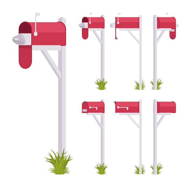 Red mailbox set. steel box near a dwelling, street corner for mail, to put and get a letter, with indicator. landscape architecture and urban design concept.   style cartoon illustration