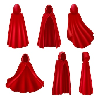Red mantle hood realistic set isolated long robes