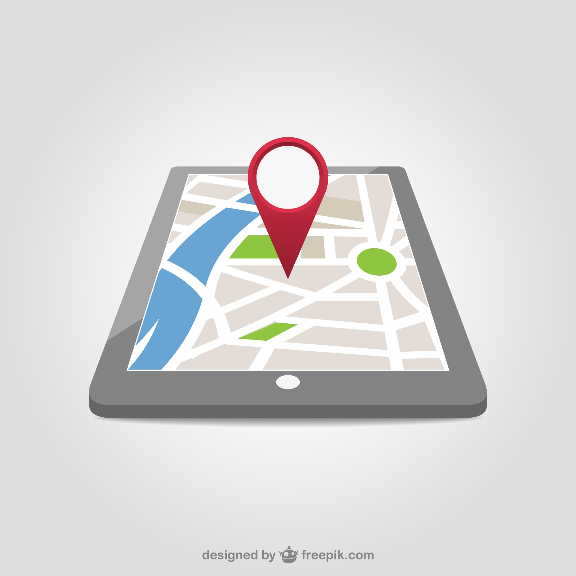 Red map pin in a tablet