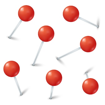 Red map pin markers vector collection